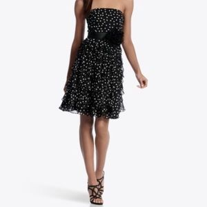 White House Black Market Polkadot Dress Black